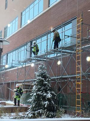 firemen on scaffolding